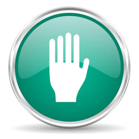stop icon: stop blue glossy circle web icon Stock Photo