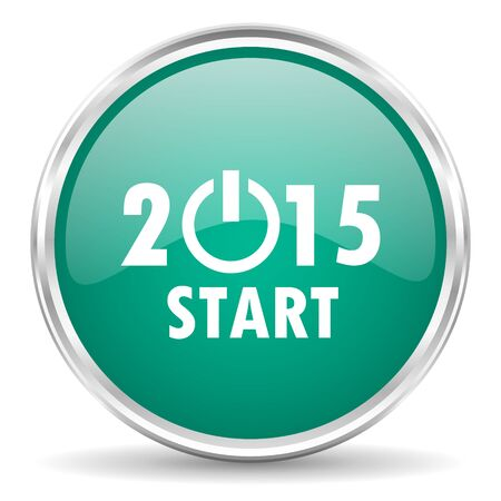 beginnings: new year 2015 blue glossy circle web icon Stock Photo