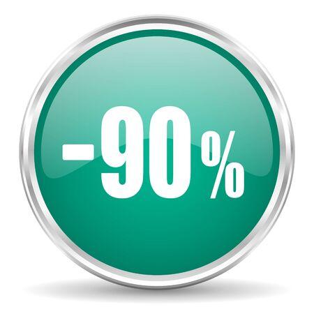 90: 90 percent sale retail blue glossy circle web icon