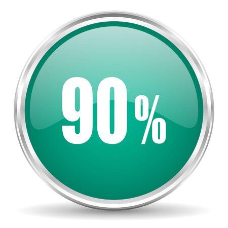 90: 90 percent blue glossy circle web icon