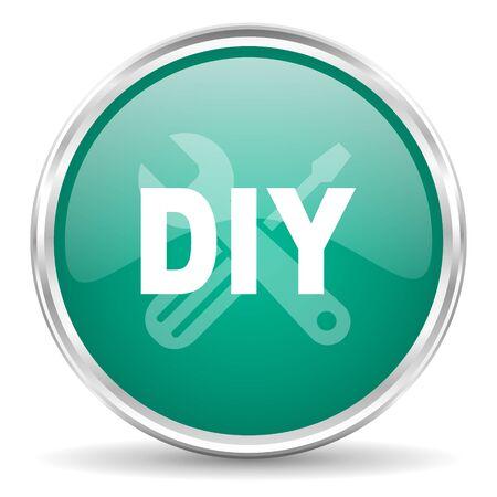 diy: diy blue glossy circle web icon Stock Photo