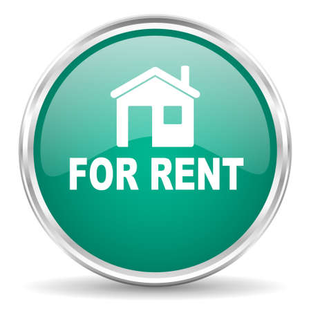 for rent: for rent blue glossy circle web icon Stock Photo