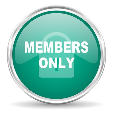 members: members only blue glossy circle web icon Stock Photo