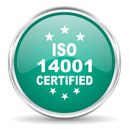 standard steel: iso 14001 blue glossy circle web icon
