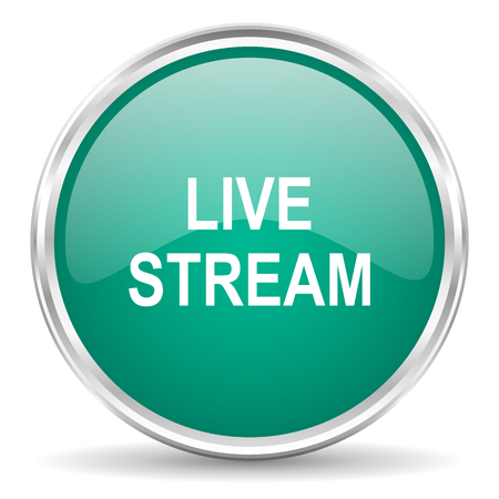 live stream: live stream blue glossy circle web icon