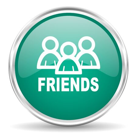 contacting: friends blue glossy circle web icon Stock Photo
