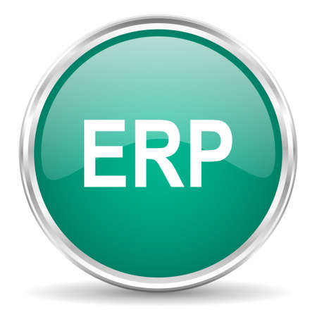 erp: erp blue glossy circle web icon Stock Photo
