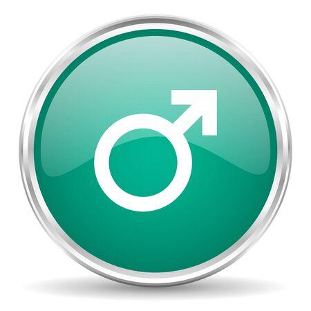 chrome man: male blue glossy circle web icon