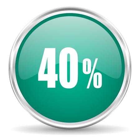 40: 40 percent blue glossy circle web icon Stock Photo