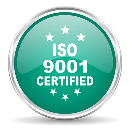 standard steel: iso 9001 blue glossy circle web icon