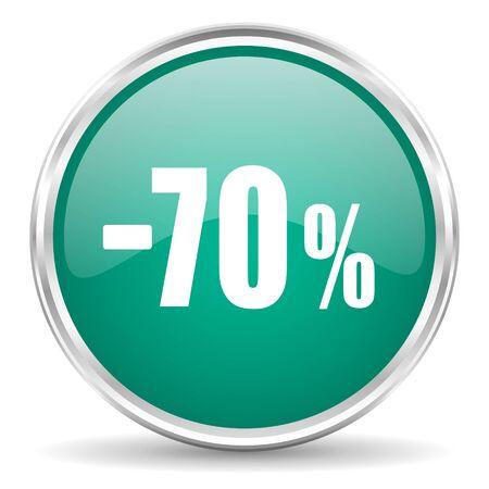 70: 70 percent sale retail blue glossy circle web icon Stock Photo
