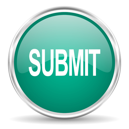 submission: submit blue glossy circle web icon Stock Photo