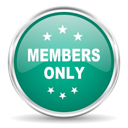 only: members only blue glossy circle web icon Stock Photo