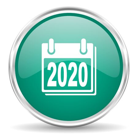 scheduler: new year 2020 blue glossy circle web icon
