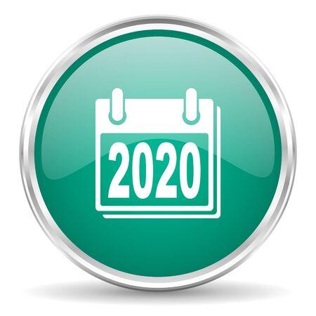 agenda year planner: new year 2020 blue glossy circle web icon