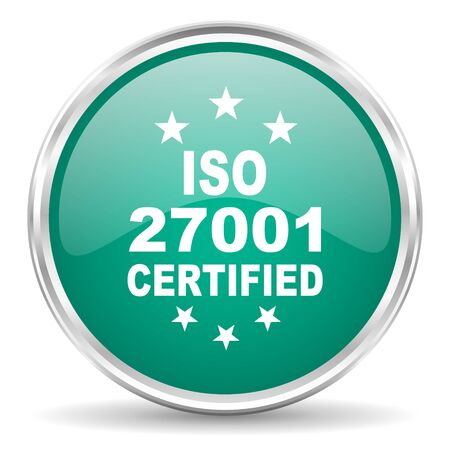 standard steel: iso 27001 blue glossy circle web icon