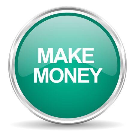grow money: make money blue glossy circle web icon