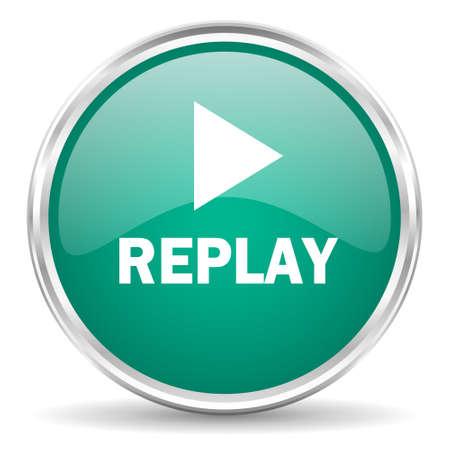 replay blue glossy circle web icon Stock Photo
