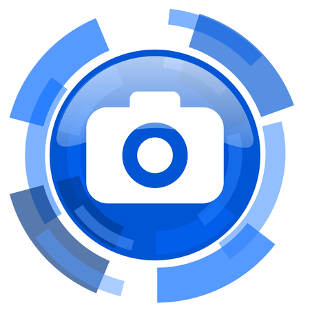picto: photo camera blue glossy circle modern web icon Stock Photo