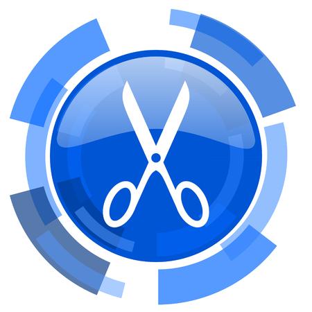 shampooing: scissors blue glossy circle modern web icon