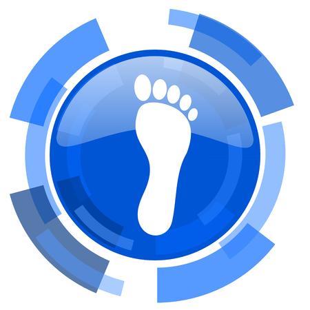 original ecological: foot blue glossy circle modern web icon Stock Photo