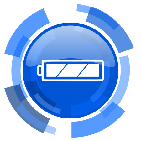 original ecological: battery blue glossy circle modern web icon Stock Photo