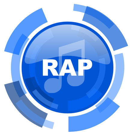 rap music: rap music blue glossy circle modern web icon Stock Photo