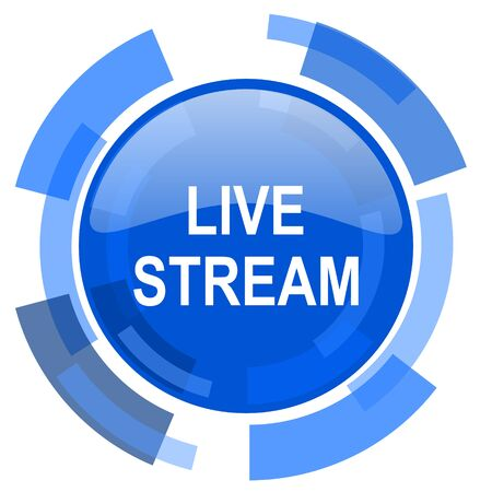 live stream blue glossy circle modern web icon Stock Photo