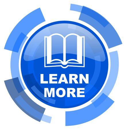 option key: learn more blue glossy circle modern web icon