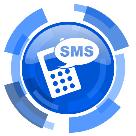 sms: sms blue glossy circle modern web icon Stock Photo