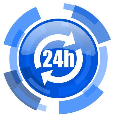 24h: 24h blue glossy circle modern web icon