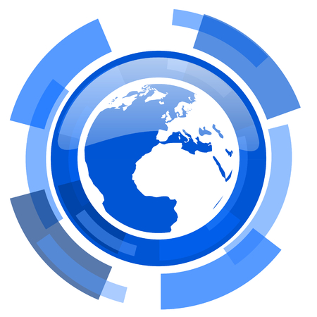 parallels: earth blue glossy circle modern web icon Stock Photo