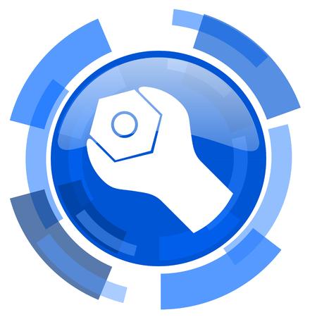 option key: tools blue glossy circle modern web icon Stock Photo
