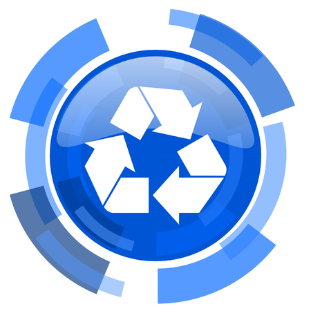 original ecological: recycle blue glossy circle modern web icon