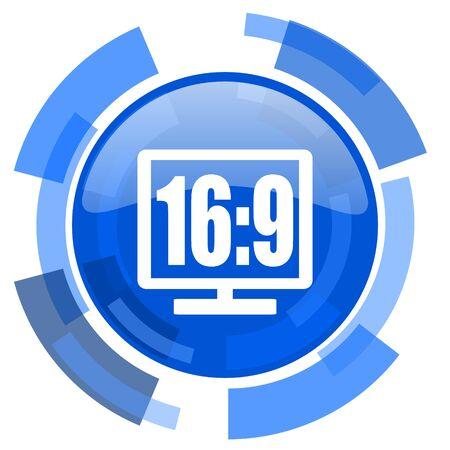 16: 16 9 display blue glossy circle modern web icon