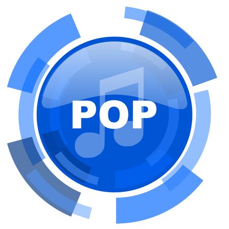live stream sign: pop music blue glossy circle modern web icon