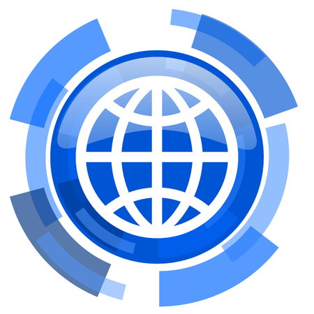 meridians: earth blue glossy circle modern web icon Stock Photo