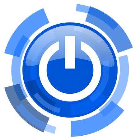 run off: power blue glossy circle modern web icon Stock Photo