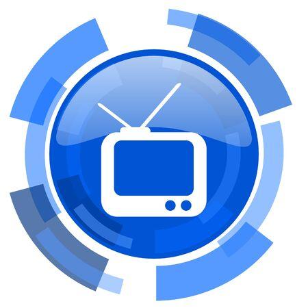 programm: tv blue glossy circle modern web icon