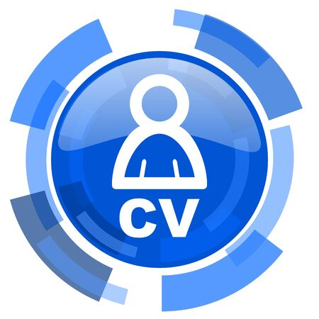 job descriptions: cv blue glossy circle modern web icon Stock Photo