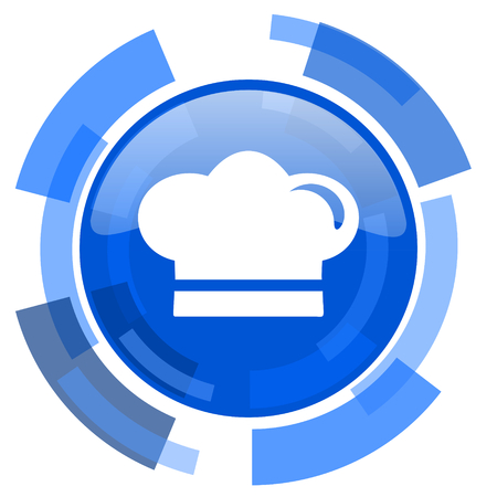 dinner wear: cook blue glossy circle modern web icon Stock Photo