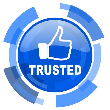 trusted: trusted blue glossy circle modern web icon