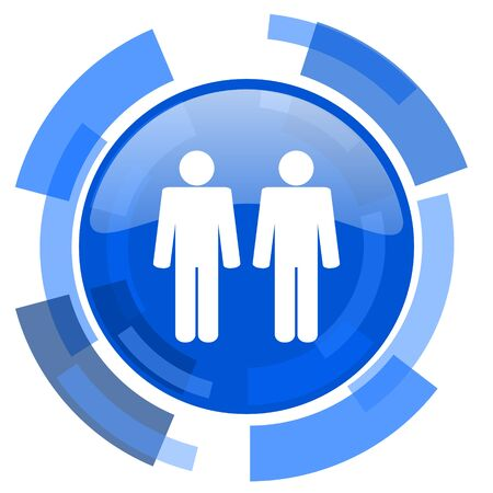 internet icon: couple blue glossy circle modern web icon Stock Photo