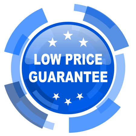 low price: low price guarantee blue glossy circle modern web icon Stock Photo