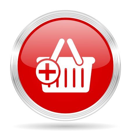 chrome cart: cart red glossy circle modern web icon on white background