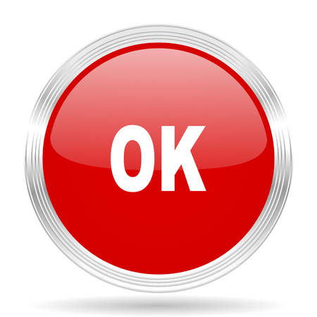 proceed: ok red glossy circle modern web icon on white background