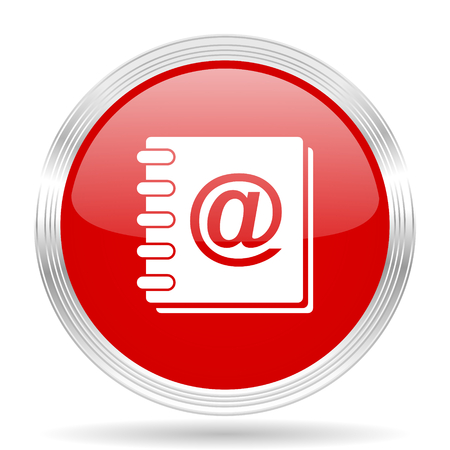 web address: address book red glossy circle modern web icon on white background