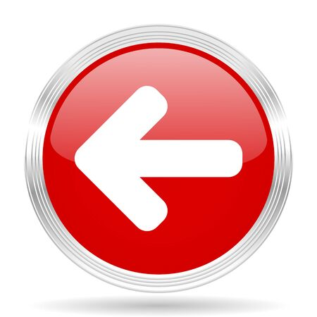 move backward: left arrow red glossy circle modern web icon on white background