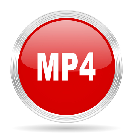 mp4: mp4 red glossy circle modern web icon on white background Stock Photo