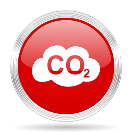 carbon dioxide: carbon dioxide red glossy circle modern web icon on white background